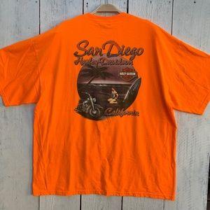 Harley Davidson San Diego Orange Cotton T-Shirt XX